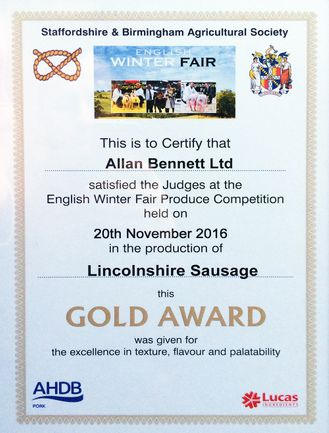 allan bennett english winter fair produce gold award